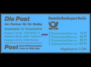 Berlin, MH 15 mit Zählbalken, postfrisch, Mi. 110,-