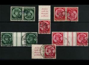 Dt. Reich, 5 Fridericus-Zusammendrucke, gestempelt, Mi. 265,- (4444)