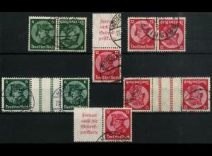 Dt. Reich, 5 Fridericus-Zusammendrucke, gestempelt, Mi. 265,- (4445)