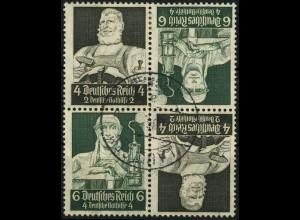 Dt. Reich, 2x K 23 im Viererblock, 4 Pf. links, gestempelt, Mi. 50,- (4481)