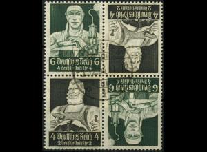 Dt. Reich, 2x K 23 im Viererblock, 6 Pf. links, gestempelt, Mi. 50,- (4482)