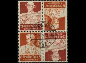 Dt. Reich, 2 x K 24 im Viererblock, 12 Pf. links , gestempelt, Mi. 50,- (4483)