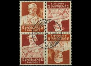 Dt. Reich, 2x K 24 im Viererblock, links 8 Pf., gestempelt, Mi. 50,- (4484)