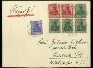 Dt. Reich, HBl. 23, portogerecht auf Luftpostbrief (4541)