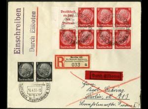 Dt. Reich, HBl. 86 B mit Rand, portogerecht auf Orts-Eil-R-Brief