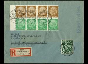 Dt. Reich, HBl. 87 B mit Rand, portogerecht auf Orts-R-Brief