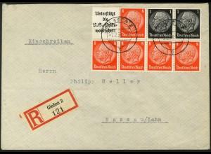 Dt. Reich, HBl. 88, portogerechte Einzelfrankatur auf R-Brief