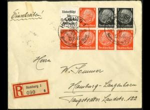 Dt. Reich, HBl. 88, Einzelfrankatur auf Orts-R-Brief (4650)