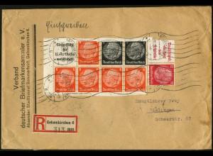 Dt. Reich, HBl. 88 B m. Rand, portogerecht auf R-Brief (4661)