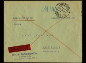 Dt. Reich, HBl. 88 B m. Rand, portogerecht auf Eil-Brief