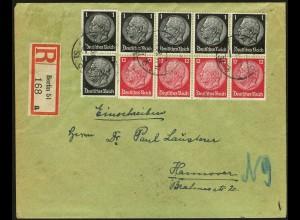 Dt. Reich, HBl. 90, portogerecht auf R-Brief, vollständige Zähnung