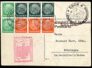 Dt. Reich, HBl. 92, Einzelfrankatur auf Zeppelin-Karte (Eger/Sudetenland)
