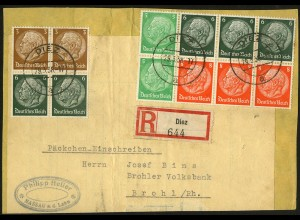 Dt. Reich, HBl. 92, portogerecht auf R-Päckchen-Adresse