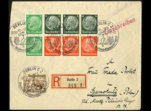 Dt. Reich, HBl. 92, portogerecht auf Auslands-R-Brief