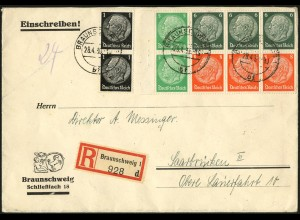 Dt. Reich, HBl. 92 B mit Rand, portogerecht auf R-Brief