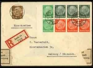Dt. Reich, HBl. 92 B, portoger. auf Auslands-R-Brief, Devisenüberwachung