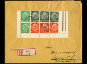 Dt. Reich, HBl. 92 B mit Rand aus MHB auf R-Brief, Ostmark-Verwendung
