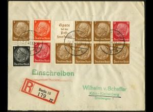 Dt. Reich, HBl. 94, portogerecht auf R-Brief