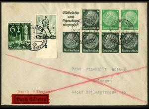 Dt. Reich, HBl. 95, portogerecht auf Eil-Brief, sehr gute Zähnung