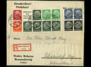 Dt. Reich, HBl. 95, portogerecht auf R-Päckchen-Adresse