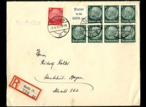 Dt. Reich, HBl. 96, portogerecht auf R-Brief