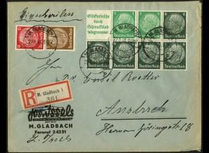 Dt. Reich, HBl. 99, auf R-Brief, sehr gut gezähnt