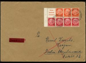 Dt. Reich, HBl. 100 B mit Rand auf Eil-Brief