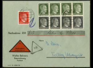 Dt. Reich, HBl. 117, vollst. Zähnung, portogerecht auf Nachnahme-Brief