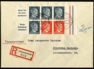 Dt. Reich, HBl. 119 aus MHB, Einzelfrankatur, Nachgebühr-R-Brief (4795)