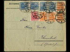 Dt. Reich, HBl. 31, portogerecht auf Fern-Brief (4851)