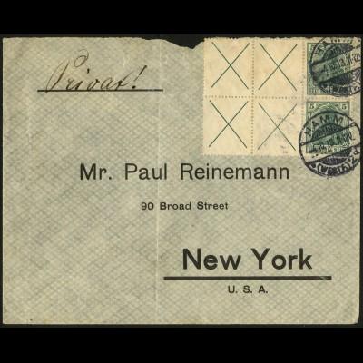 Dt. Reich, HBl. 7, Einzelfrankatur auf Auslands-Brief, Mi. 5600,- für MiF (4857)