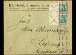 Dt. Reich, W 1.1, portogerechte Mehrfach-Frankatur, Mi.-Handbuch 1200,- (4864)