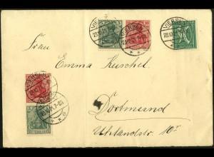 Dt. Reich, W 7 II + S 5, auf portogerechtem Fern-Brief, Mi. 115,- (4904)
