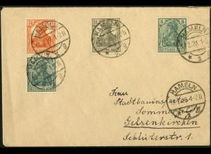 Dt. Reich, S 3 ab, portogerecht auf Fern-Brief, Mi. 60,- (4927)