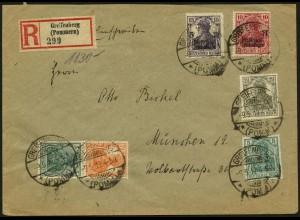 Dt. Reich, S 3 ab, portogerecht auf R-Brief, Mi. 60,- (4929)