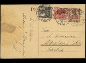 Dt. Reich, S 9 aa, portogerecht auf Ganzsachen-Karte, Mi. 60,- (4933)