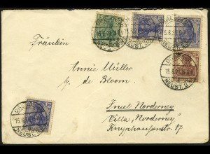 Dt. Reich, S 10, portogerecht auf Fern-Brief, Mi. 30,- (4937)