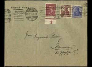 Dt. Reich, W 14, portogerecht auf Orts-Brief, Mi. 45,- (4945)