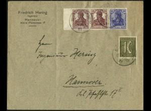 Dt. Reich, W 14, portogerecht (2. Gew.-Stufe) auf Orts-Brief, Mi. 45,- (4947)