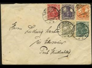 Dt. Reich, W 12 + S 3, portogerecht auf Fern-Brief, Mi. 150,- (4950)