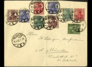 Dt. Reich, W 7 II + 3 weitere Zd., portogerecht auf Fern-Brief, Mi. 150,- (4963)