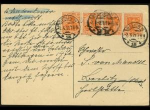 Dt. Reich, K 1 auf portogerechter Postkarte, gepr. BPP, Mi. 30,- (4966)