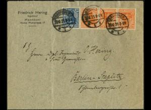 Dt. Reich, WK 1, portogerecht auf Fern-Brief, Mi. 1000,- (4991)