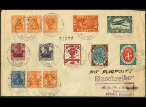 Dt. Reich, WK 1 + K 1, auf Luftpost-R-Brief, Mi.-Handbuch 650,- (4992)