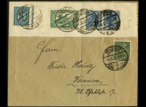 Dt. Reich, K 2, portogerecht auf Fern-Brief, Mi. 50,- (5000)