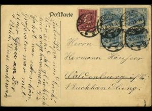 Dt. Reich, K 2 (2), portogerecht auf Fern-Karte, gepr. Infla, Mi. 70,- (5001)