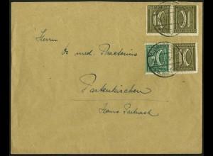 Dt. Reich, W 19 + K 5 portogerecht auf Fern-Brief, Mi. 230,- (5038)