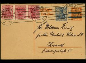 Dt. Reich, K 3 portogerecht auf Orts-GA-Karte, Mi. 30,- (5071)