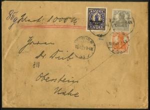Dt. Reich, S 11 b, portogerecht auf Wert-Brief, gepr. Infla (5083)