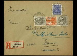 Dt. Reich, S 12 b, portogerecht auf R-Brief, Mi. 50,- (5095)